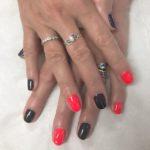 Dark grey and coral nails