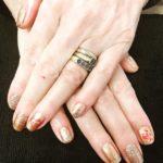Bronze nails with nail art