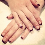 Aubergine french tip nails